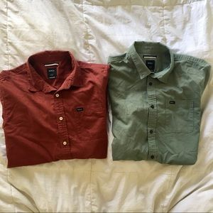 Men's RVCA Short Sleeve Button Down Shirt Bundle